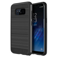 Brushed Texture Armor Anti Shock Hybrid Case for Samsung Galaxy S8 Plus - Black