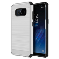 Brushed Texture Armor Anti Shock Hybrid Case for Samsung Galaxy S8 Plus - Silver