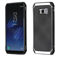Chrome Tough Anti-Shock Hybrid Case with Leather Backing for Samsung Galaxy S8 Plus - Black