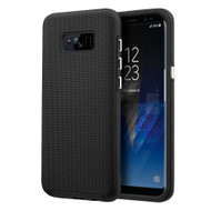 Haptic Football Textured Anti-Slip Hybrid Armor Case for Samsung Galaxy S8 Plus - Black