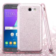 Full Glitter Hybrid Protective Case for Samsung Galaxy J3 (2017) / J3 Emerge / J3 Prime / Amp Prime 2 / Sol 2 - Pink