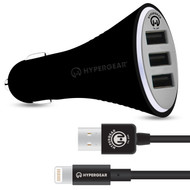 HyperGear Triple USB Car Charger with MFi Lightning Cable - Black