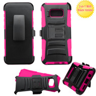 Advanced Armor Hybrid Kickstand Case with Holster for Samsung Galaxy S8 Plus - Black Hot Pink