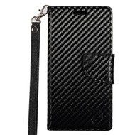 Leather Wallet Shell Case for Samsung Galaxy S8 - Carbon Fiber