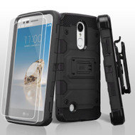 Military Grade Storm Tank Hybrid Case + Holster + Screen Protector for LG Aristo / Fortune / K8 2017 / Phoenix 3 - Black