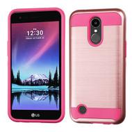 Brushed Hybrid Armor Case for LG K20 Plus / K20 V / K10 (2017) / Harmony - Rose Gold Hot Pink