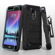 Kinetic Hybrid Case + Holster + Tempered Glass Screen Protector for LG K20 Plus / K20 V / K10 (2017) / Harmony - Black