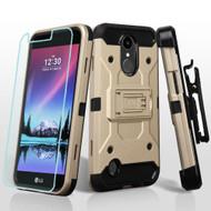 *SALE* Kinetic Holster Case + Tempered Glass Screen Protector for LG K20 Plus / K20 V / K10 (2017) / Harmony - Gold