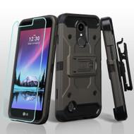 Kinetic Holster Case + Tempered Glass Screen Protector for LG K20 Plus / K20 V / K10 (2017) / Harmony - Grey