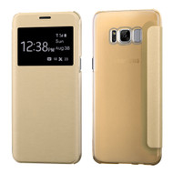 Book-Style Hybrid Flip Case with Window Display for Samsung Galaxy S8 Plus - Gold