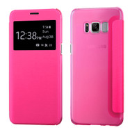 Book-Style Hybrid Flip Case with Window Display for Samsung Galaxy S8 Plus - Hot Pink