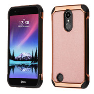 *SALE* Electroplated Tough Anti-Shock Hybrid Case with Leather Back for LG K20 Plus / K20 V / Harmony - Rose Gold