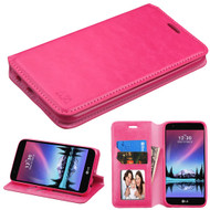 Book-Style Leather Folio Case for LG K10 (2017) / K20 Plus - Hot Pink