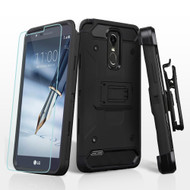 3-IN-1 Kinetic Hybrid Armor Case with Holster and Tempered Glass Screen Protector for LG Stylo 3 / Stylo 3 Plus - Black