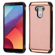 Electroplated Tough Anti-Shock Hybrid Case with Leather Backing for LG G6 - Rose Gold