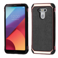 Electroplated Tough Anti-Shock Hybrid Case with Leather Backing for LG G6 - Black