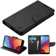 Diary Leather Wallet Case for LG G6 - Black