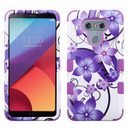 Military Grade Certified TUFF Image Hybrid Armor Case for LG G6 - Purple Hibiscus Flower Romance