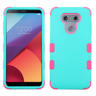 Military Grade Certified TUFF Hybrid Armor Case for LG G6 - Teal Green Hot Pink