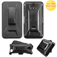 Tough Armor Hybrid Kickstand Case with Holster for ZTE Avid Plus / Maven 2 / Prestige 2 / Sonata 3 / ZFive 2 - Black