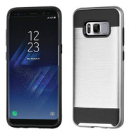 Brushed Hybrid Armor Case for Samsung Galaxy S8 Plus - Silver