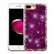 Luxury Bling Diamond Quicksand Glitter Transparent Case for iPhone 8 Plus / 7 Plus - Purple
