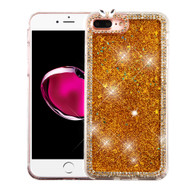 Luxury Bling Diamond Quicksand Glitter Transparent Case for iPhone 8 Plus / 7 Plus - Gold