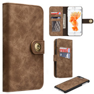 Luxury Coach Lite Series Leather Wallet with Removable Magnet Case for iPhone 8 Plus / 7 Plus - Brown