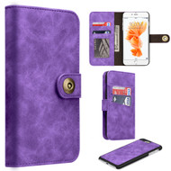 Luxury Coach Lite Series Leather Wallet with Removable Magnet Case for iPhone 8 Plus / 7 Plus - Purple