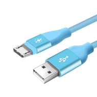 Gummy Micro USB Connector to USB Charge and Sync Cable - Blue