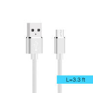 Gummy Micro USB Connector to USB Charge and Sync Cable - White
