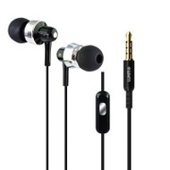 Metal Dynamic Stereo Earphones with In-Line Microphone - Black