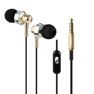*Sale* Metal Dynamic Stereo Earphones with In-Line Microphone - Gold