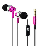 Metal Dynamic Stereo Earphones with In-Line Microphone - Hot Pink