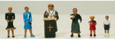 Model Power Pastor w/ Congregation & Pulpit (7) HO Train Figures 5737