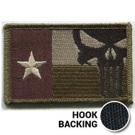 Texas Flag Patch, Punisher - Embroidered - Olive Drab (w/ Hook Back)
