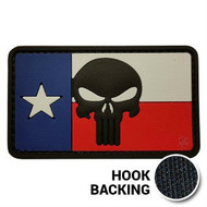 Texas Flag Patch, Punisher - PVC - Full Color (w/ Hook Back)