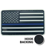 American Flag Patch, Thin Blue Line - PVC - Grey (w/ Hook Back)