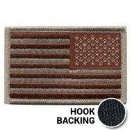 American Flag Patch - Embroidered - Desert (Reversed w/ Hook Back)