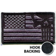 American Flag Patch, Punisher - Embroidered - Black (w/ Hook Back)