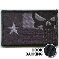 Texas Flag Patch, Punisher - Embroidered - Black (w/ Hook Back)