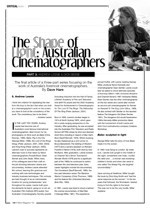 The Shape of Light ?Australian Cinematographers: Part Three: Andrew Lesnie; Dion Beebe