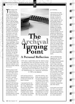 The Archival Turning Point: A Personal Reflection