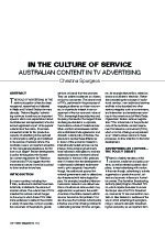 In the Culture of Service: Australian Content in TV Advertising