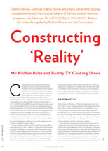 Constructing 'Reality': My Kitchen Rules and Reality TV Cooking Shows