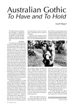 Australian Gothic: 'To Have and To Hold'