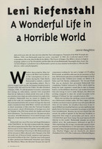 Leni Riefenstahl: A Wonderful Life in a Horrible World