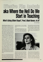 Effective Film Analysis: Aka Where the Hell Do We Start in Teaching 'What's Eating Gilbert Grape', 'Proof', 'Blade Runner', et al?