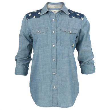 Women 39 s whistle chambray button up duck commander for Cuisine you chambray