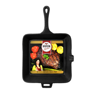 "Duck Commander Cast Iron 10 1/2"" x 1 3/4""square grill pan"